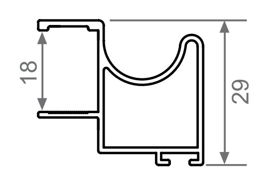 Profil vertical aluminiu sistem usi glisante Galex 18mm 2500mm
