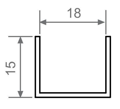 Profil orizontal aluminiu sistem usi glisante Galex 18mm 2000mm
